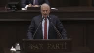 Turkish Prime Minister and the leader of Turkey's ruling Justice and Development Party Binali Yildirim speaks during the AK Party's group meeting at...
