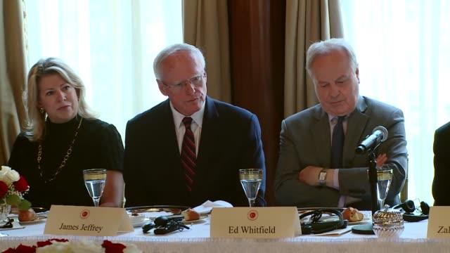 Turkish Prime Minister Binali Yildirim accompanied by Foreign Minister Mevlut Cavusoglu Energy Minister Berat Albayrak meets TurkishUS opinion...