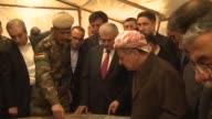 Turkish Prime Minister Binali Yildirim accompanied by Iraqi Kurdistan Regional Government President Masoud Barzani visits Peshmerga position on...