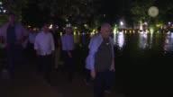 Turkish Prime Minister Binali Yildirim accompanied by Turkish deputy Prime Ministers Mehmet Simsek and Recep Akdag tours Hanoi the capital of Vietnam...