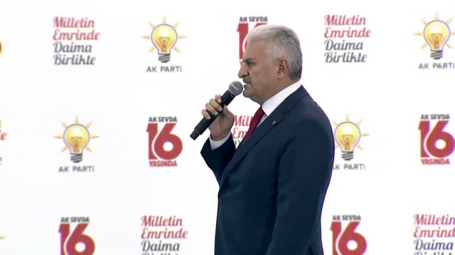 Turkish Prime Minister Binali Yildirim addresses to the crowd during the ceremony marking the 16th Anniversary of Justice and Development Party's...