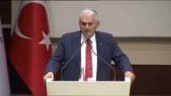 Turkish Prime Minister Binali Yildirim addresses village leaders at Justice and Development Party headquarters in Ankara Turkey on June 02 2016...