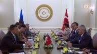 Turkish Prime Minister Binali Yildirim and Estonian Prime Minister Juri Ratas attend an interdelegations meeting at Cankaya Palace in Ankara Turkey...