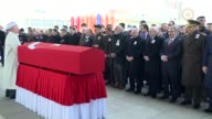 Turkish Prime Minister Binali Yildirim attends a funeral ceremony for Turkish specialized sergeant Mahmut Uslu martyred in Operation Euphrates Shield...