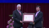 Turkish Prime Minister Binali Yildirim attends the Distinguished Medal of Honour in Social Sciences Award Ceremony at Vietnam Academy of Social...