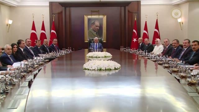 Turkish Prime Minister Binali Yildirim chairs Cabinet meeting at Cankaya palace in Ankara Turkey on July 24 2017 Deputy Prime Ministers Bekir Bozdag...