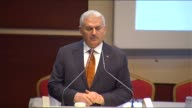 Turkish Prime Minister Binali Yildirim delivers a speech during the 114th enlarged meeting of provincial chairmans of Justice and Development Party...