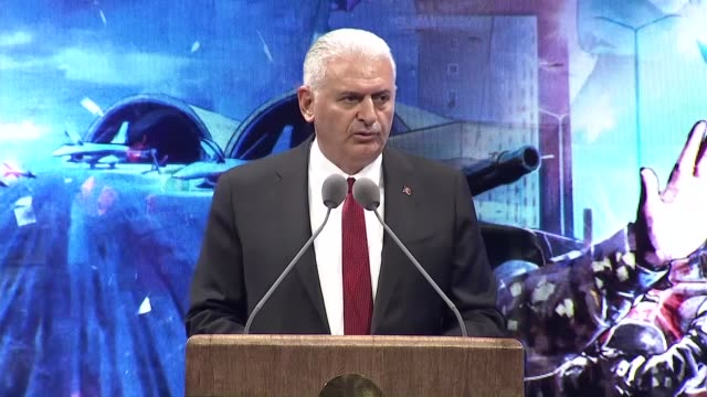 Turkish Prime Minister Binali Yildirim delivers a speech during the commemoration ceremony of 15th July coup attempt at the Bestepe People's Culture...