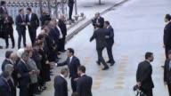 Turkish Prime Minister Binali Yildirim his wife Semiha Yildirim and officials welcome Turkish President Recep Tayyip Erdogan upon Erdogan's arrival...