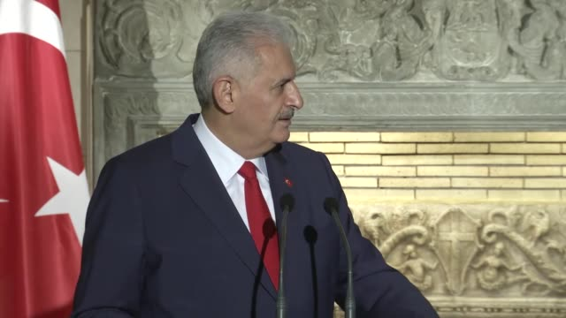 Turkish Prime Minister Binali Yildirim holds a joint press conference with his Greek counterpart Alexis Tsipras at Prime Ministry residence in Athens...