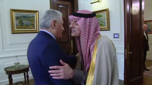 Turkish Prime Minister Binali Yildirim meets Minister of Foreign Affairs of Saudi Arabia Adel alJubeir at Cankaya Palace in Ankara Turkey on February...