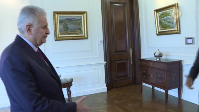 Turkish Prime Minister Binali Yildirim meets with Democratic Republic of Congo Deputy Prime Minister Leonard She Okitundu in Ankara Turkey on...