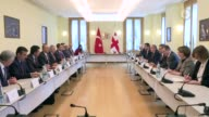 Turkish Prime Minister Binali Yildirim meets with Georgian President Giorgi Margvelashvili in Tbilisi Georgia on May 23 2017