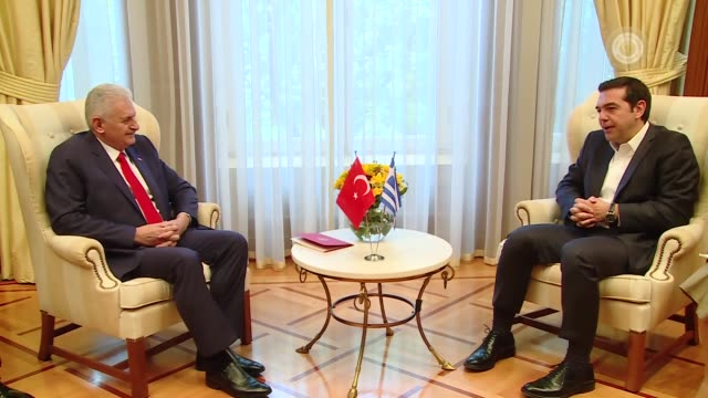 Turkish Prime Minister Binali Yildirim meets with Greek Prime Minister Alexis Tsipras in Athens Greece on June 19 2017