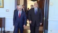 Turkish Prime Minister Binali Yildirim meets with his Bulgarian counterpart Boyko Borisov in Ankara Turkey on June 13 2017