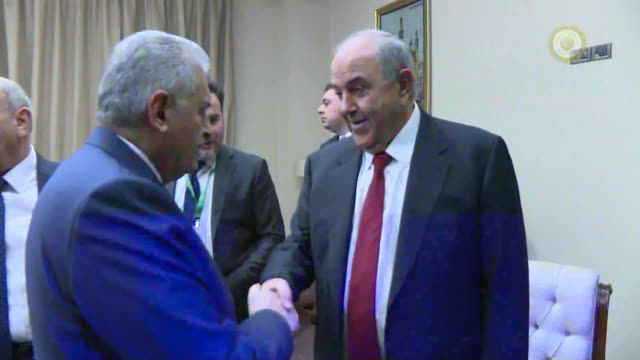 Turkish Prime Minister Binali Yildirim meets with Iraqi Vice President Ayad Allawi in Baghdad Iraq on January 07 2017