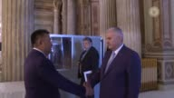 Turkish Prime Minister Binali Yildirim meets with Kyrgyzstan Parliamentary Speaker Cinibay Tursunbekov within the scope of 25th Anniversary Summit of...