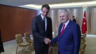 Turkish Prime Minister Binali Yildirim meets with Kyriakos Mitsotakis leader of Greece's New Democracy Party in Athens Greece on June 19 2017