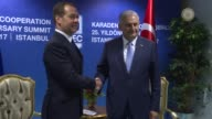 Turkish Prime Minister Binali Yildirim meets with Russian Prime Minister Dmitriy Medvedev as part of the 25th Anniversary Summit of the Organization...