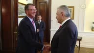 Turkish Prime Minister Binali Yildirim meets with US Secretary of Defense Ashton Carter at the Cankaya Palace in Ankara Turkey on October 21 2016