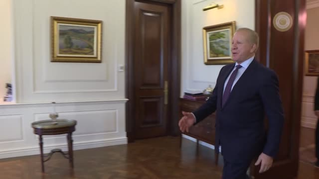 Turkish Prime Minister Binali Yildirim receives Kosovo's Foreign Minister Behgjet Pacolli at Cankaya Mansion in Ankara on October 27 2017
