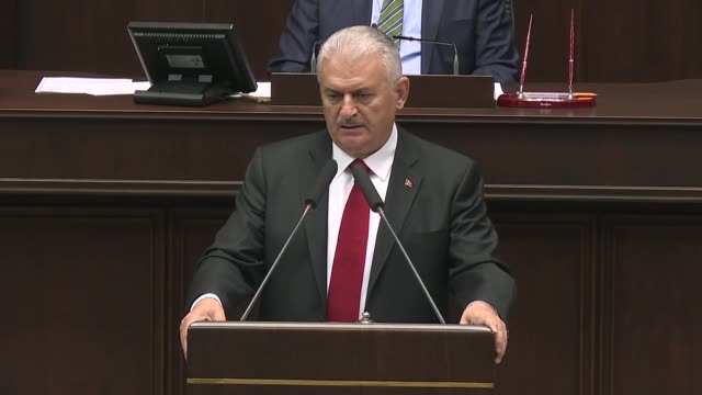 Turkish Prime Minister Binali Yildirim speaks at a meeting of Justice and Development Party lawmakers at the Grand National Assembly of Turkey in...