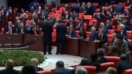 Turkish Prime Minister Binali Yildirim speaks during a parliament session following the confidence vote of the new government at Grand National...