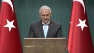 Turkish Prime Minister Binali Yildirim speaks during a press conference regarding the changes in the cabinet in July 19 2017 in Ankara Turkey Turkey...
