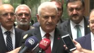 Turkish Prime Minister Binali Yildirim speaks to the media in Hanoi Vietnam on August 24 2017 Turkey would deepen its trade ties with Asian countries...