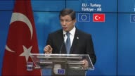 Turkish Prime Minister Turkey Ahmet Davutoglu speaks during a a joint press conference with President of the European Council Donald Tusk and...
