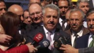 Turkish Transport Minister Ahmet Arslan speaks to reporters about US and UK ban electronic devices on flights on March 23 2017 in Sivas Turkey...
