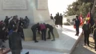 Turkish Youth and Sports Minister Akif Cagatay Kilic and first army commander full general Musa Avsever attend a ceremony at the Chunuk Bair New...