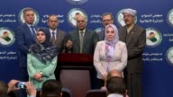 Turkmen MPs hold a press conference in Baghdad Iraq on August 21 2017 Iraqi authorities on Monday called on Daesh militants to surrender in their...