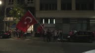 Turks gather outside the Turkish embassy in Brussels Belgium on July 15 2017 to commemorate the first anniversary of the defeated coup in Turkey...