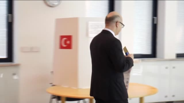 Turks living in Sarajevo cast their votes for the upcoming Turkish general elections at Turkish embassy in Sarajevo on May 30 2015 The general...