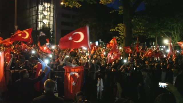 Turks take part in a demonstration in Hamburg Germany on July 15 2017 to commemorate the first anniversary of the defeated coup in Turkey Turks in...