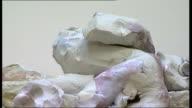 nominee artworks on display Various of Rebecca Warren sculptures on display in gallery / Close ups of Warren's clay sculptures / Close ups of clay...