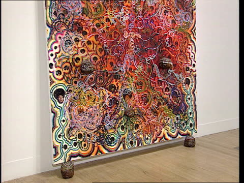 i/c Work by Ofili CS Elephant dung in picture Virginia Button interview SOT Talks of increasing popularity of the Turner Prize Ofili posing in front...