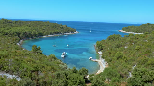 AERIAL Turquoise sea bay surrounded by Mediterranean forest