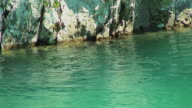 MS Turquoise water in river with cliff, Greece