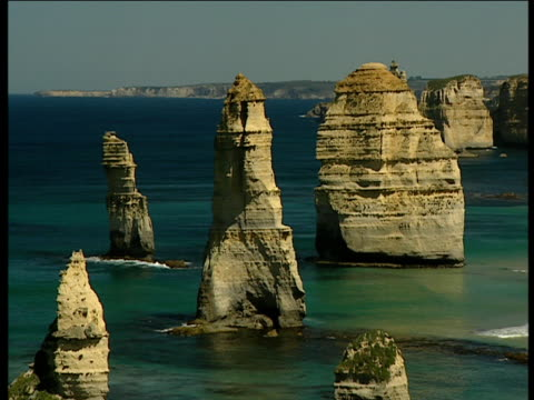 Twelve Apostles rock formation stretching out across the bay Victoria