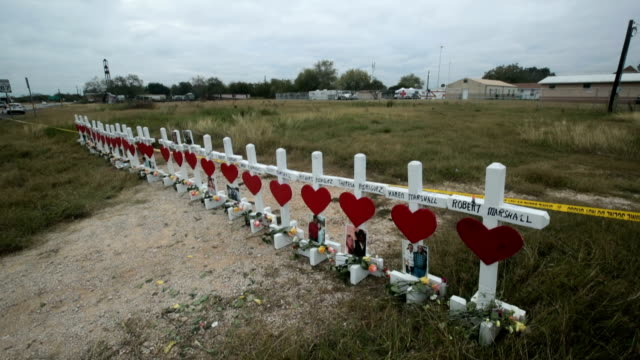 Twentysix crosses honor the 26 victims killed at the First Baptist Church of Sutherland Springs on November 7 2017 in Sutherland Springs Texas On...