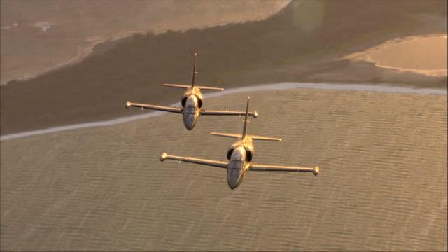 AIR TO AIR, Two Aero L-39 Albatroses flying over ocean
