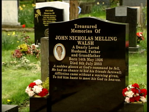 Two bodies mixed up at Manchester hospital ITN Cheadle Gravestone for 'John Nicholas Melling Walsh' in cemetery PULL OUT as grave covered by boards...