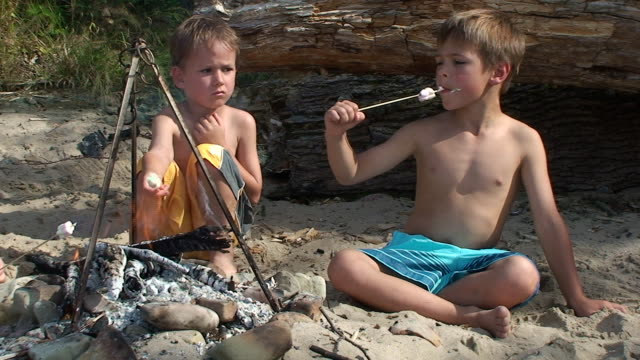 Two boys eating marshmallow on the picnic.