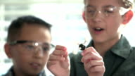 Two boys in chemistry class with molecular model