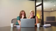 Two businesswomen working on laptop