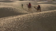 MS PAN Two camels with tourist / Sam Sand Dunes, Rajasthan, India