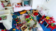 MS T/L Two children cleaning up messy nursery / Munich, Bavaria, Germany