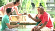 Two couples talking, drinking by pool